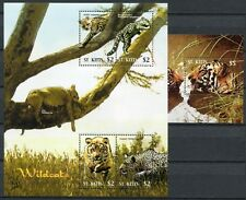 St. Kitts 2005 Raubkatzen Leoparden Ozelot Tiger Wildkatzen 838-41 Block 68 MNH