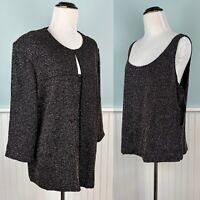 SIZE XL / 1X Alex Evenings Black Glitter Twinset Tank Top Shirt + Jacket Set NWT