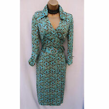 Exquisite Karen Millen Aqua Silk Snake Print Hourglass Pencil Shirt Dress UK 8