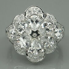 ELEGANT! WHITE SAPPHIRE PEAR & ROUND STERLING 925 SILVER RING SIZE 6.5