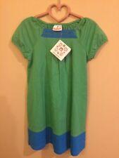 Hanna Andersson Green Blue Crochet Trim Dress Size 110 Free Shipping