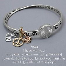 Peace Prayer Bangle Bracelet Charms Metal SILVER Heart Peace Sign Dove Jewelry