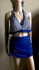 Jessica Simpson women plus Swimsuit size 1X Striped Skirt bikini Bottom 2pc NWT