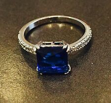 Blue Square Zirconia Ring Size 6 Jewellery Gold Plated Bridal Gift