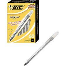 BIC Round Stic Ballpoint Pen, Medium Point, Black, 60ct