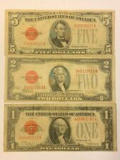 LOT SET OF 3 1928 RED SEAL NOTES $5 $2 AND $1 FUNNY BACK (D50)