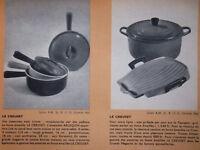 PUBLICITÉ DE PRESSE 1957 LE CREUSET POÊLONS GRILL TOSTADOR - ADVERTISING