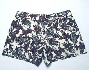 Ann Taylor Loft Womens Size 6 Shorts Paisley Floral Linen Pockets