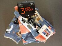 3 Paar Damen Socken Strümpfe Hunde Mops Terrier Westie Bunt Tier 37-42 Primark