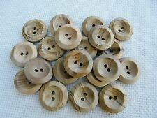 10 NATURAL WOODEN BUTTONS SIZE 22 (14MM) FREE P&P UK