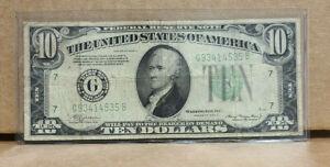 1934 $10 DOLLAR BILL LGS LIGHT GREEN SEAL FEDERAL RESERVE NOTE