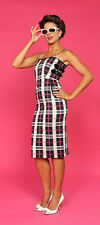 BETTIE PAGE L Plaid Violated Buckle Up Wiggle Pencil Dress Rockabilly Pin-Up L