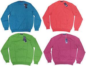 $695 Ralph Lauren Purple Label Mens Italy Cotton Cashmere Solid Crewneck Sweater