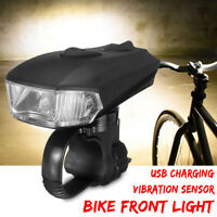 Bicycle Smart Sensor LED Front Light Headlight 5 Mode USB Charging Warning