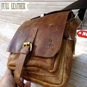 Genuine Vintage hard Leather Shoulder Bag Messenger man ipad Cowhide Bull id