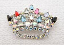 VTG B David Signed Multi Color Aurora Borealis Rhinestone Crown Pin Brooch