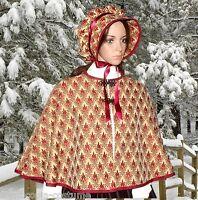 Ladies Victorian  2pc CAPE & BONNET gentry costume fancy dress UK size 10-12 BB