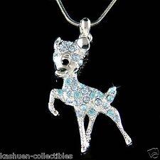 w Swarovski Crystal ~Blue BAMBI DEER Fawn Charm Pendant Chain Necklace Cute Xmas
