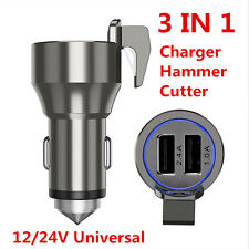 Car Charger 3in1 Metal Power Adapter with Emergency Escape Hammer Belt Cutter