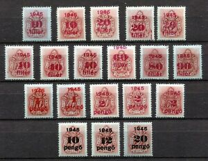 HUNGARY 1945 POSTAGE DUE SET J167-J185 PERFECT MNH INCLUDING VERY SCARCE J170