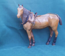 SUPERBLY HAND CARVED WOOD ANTIQUE HORSE WITH RIGGING COLLAR HARNESS