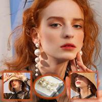 Lightweight Glamourous Gold Plated White Pearls Long Tassel Dangle Drop Earrings