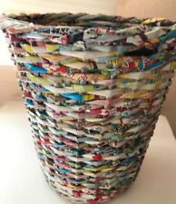 "Waste Paper/garbage Basket 11.5"" tall. Made From Asian Bubble Gum Wrappers"