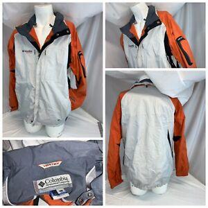 Columbia Vertex Ski Jacket L Men Ivory Orange Black Nylon Mint YGI C0-159