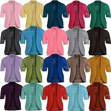 New Ladies Plus Size Long Knit Bolero Crochet Jumper Cardigan Tops 16-26