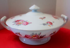 """Sango Pink Yellow Roses Blue Green Leaves SAN 5  Covered Serving Bowl 8 1/2"""""""