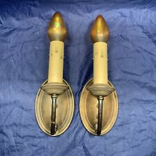 Wired Pair Antique Brass Wall Sconces Fixtures Rewired 57F