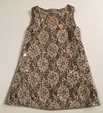 EUC Blumarine Baby 18 Months Taupe Floral Lace Front Dress with Gold Sequins