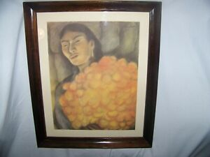 "Diego Rivera(1886-1957)Artist, Mexico, Offset Litho ""Woman With Flowers"", Framed"