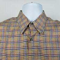Jhane Barnes Mens Red Blue Biege Check Plaid Dress Button Shirt Size Medium M