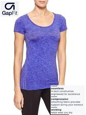NWT $35 Sz. M GAP FIT Women's Activewear Seamless Compression Wicking Tee BLUE