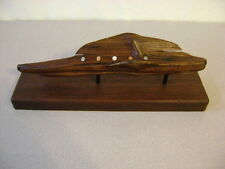 WOODEN DRIFT WOOD EARTHY SIMPLE INLAID STONES MOUNTD BASE (A) Natural Sculpture