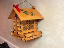 Wooden Bird Feeders Handmade log cabin square wood different colors