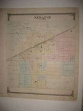 ANTIQUE 1875 KEWANEE CITY WETHERSFIELD TOWNSHIP HENRY COUNTY ILLINOIS HNDCLR MAP