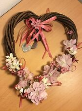 HEART SHAPED GRAPEVINE WREATH WITH  FLOWERS ARRANGEMENT W/ WOODEN HEARTS