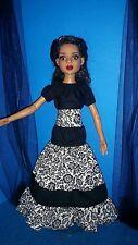 "Handmade peasant blouse and skirt for 16"" Ellowyne Wilde doll Black gardens"