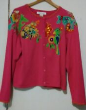 A pink button up appliqued bejeweled cotton blend colorful sweater