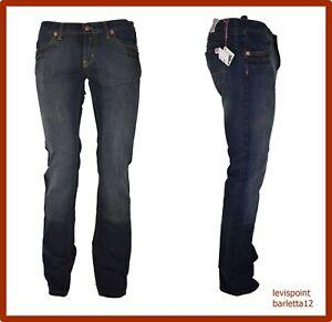 pantaloni denim jeans a vita bassa da donna blu a sigaretta gamba dritta 42 44