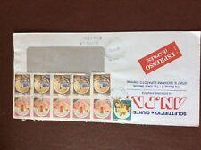 b1u ephemera stamped franked envelope italy 11 stamps airmail 1985 frank