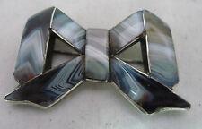 Victorian Scottish Silver & Agate Bow Brooch 5.6cm x 3.5cm 22.4g A602017