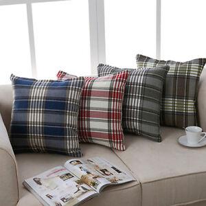 BG_ JW_ Modern Plaid Pillow Case Throw Cushion Square Cover Protector Home Decor