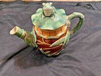 "Henriksen Imports Majolica Frog Teapot 7"" tall"