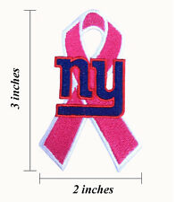 New York Giants Breast Cancer Awareness Ribbon Embroidered Iron On Patch.