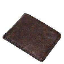 Genuine Ostrich Skin Leather Men's Bifold Wallet Brown