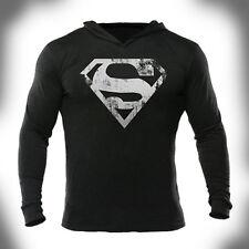 Superman Distressed/Batman Swole Logo Bodybuilding Gym Hoodies Pullover Workout