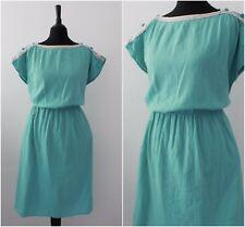 Vintage 1970s 80s Green Batwing Sleeve Crinkle RETRO Casual Midi Dress 16